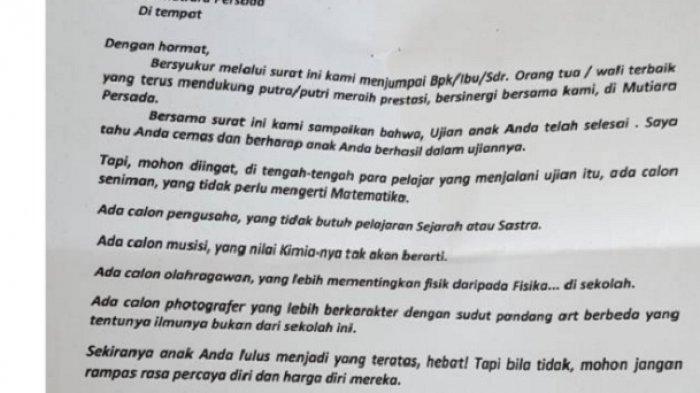 Soal Surat Kepala Sekolah yang Viral, Ini Kata Orang Tua Murid SD Mutiara Persada di Bantul