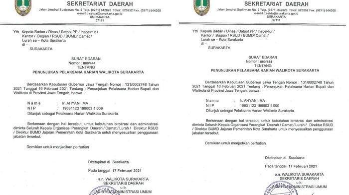 Sah! Ini Surat Resmi Ahyani Plh Wali Kota Solo, Gegara Gibran Anak Jokowi Batal Dilantik 17 Februari