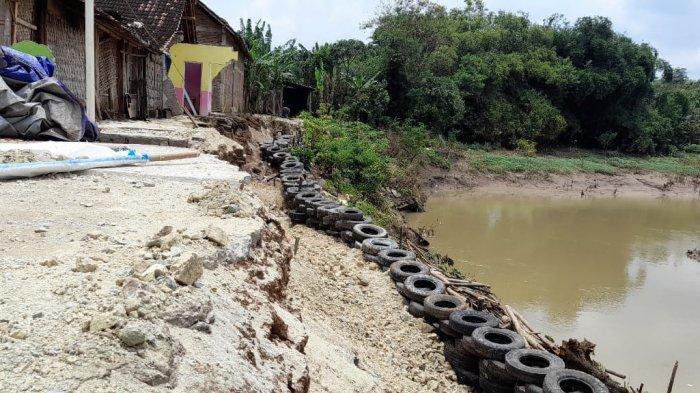 Talut Ambrol Akibat Erosi Sungai, Warga Sragen Bangun Tanggul Pakai Ban Bekas