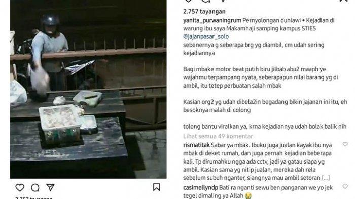 Viral, Maling Jajanan Pasar Terekam CCTV di Sukoharjo, Pelaku Santai: Sempat Tukar Barang Curian