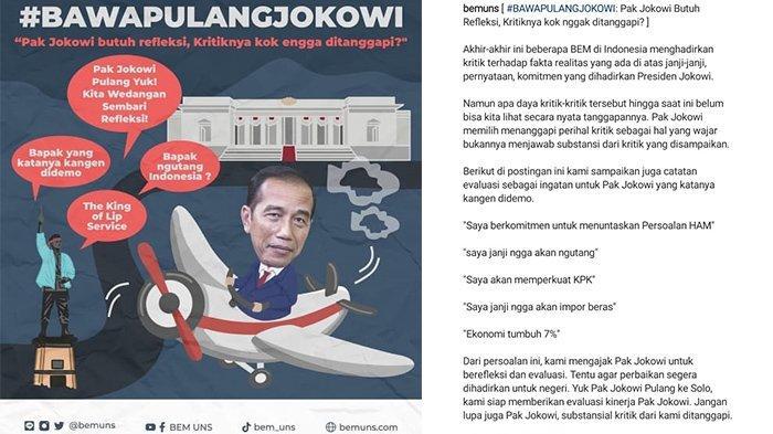 Kritik Jokowi dengan Tagar  #BAWAPULANGJOKOWI, Ini Harapan Dari BEM UNS : Semoga Didengar Presiden