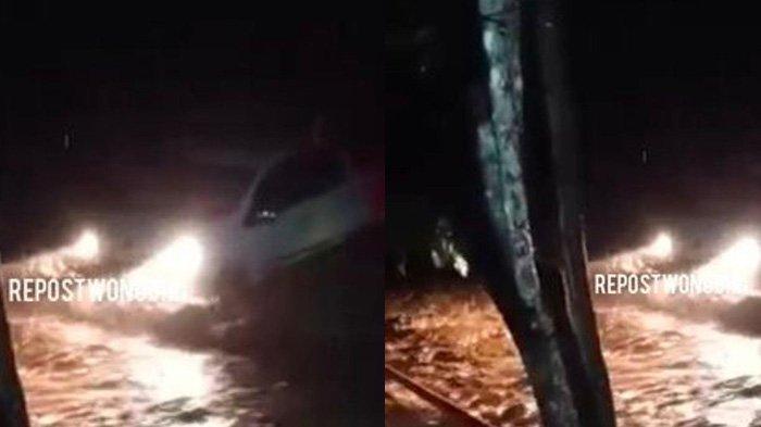 Banjir di Jatiroto Wonogiri, Viral Mobil Penuh Penumpang Terseret Arus Sampai ke Tepi Jalan