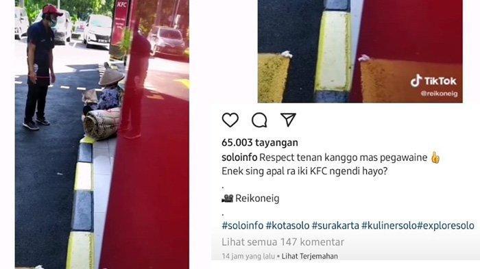 Aksi Pegawai KFC Manahan Solo Bikin Hati Tersentuh, Datangi Nenek Penjual Tikar, Ini yang Dilakukan