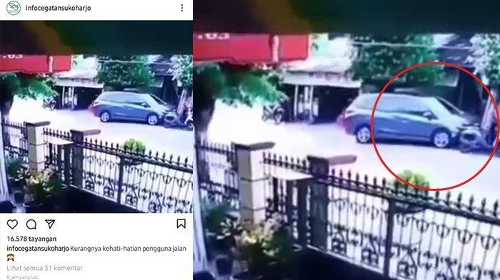 Viral Mobil Tabrak Motor Parkir di Grogol Sukoharjo, Ternyata Ini Fakta Sebenarnya