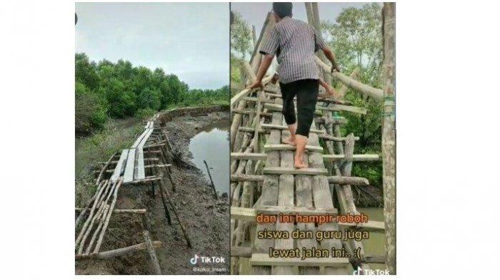 Viral Sekolah SMK Berada di Dalam Hutan Mangrove, Guru dan Murid Harus Lewati Jembatan Hampir Roboh