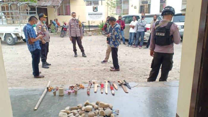 Ikut Tawuran, 13 Remaja Simpatisan Paslon Pilkada Malaka Diamankan, Polisi Amankan Berbagai Sajam