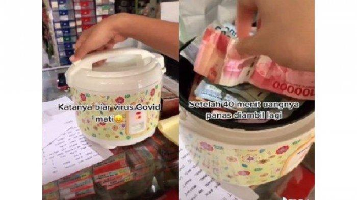 Viral Video Uang Belanja Dipanaskan di Rice Cooker agar Virus Corona Mati, Begini Cerita di Baliknya