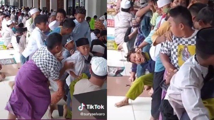 Viral Aksi Kocak Sejumlah Bocah Laki-laki Rebutan Nasi Kotak Setelah Salat Jumat, Ada yang Menangis