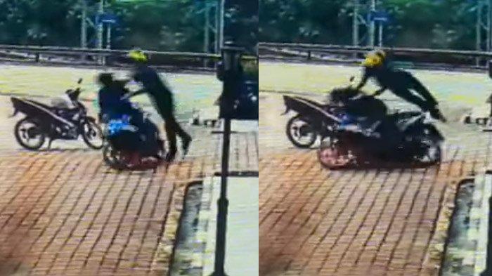 Viral, Video Detik-detik Driver Grab Berjuang Pertahankan Motor dari Kepungan Begal