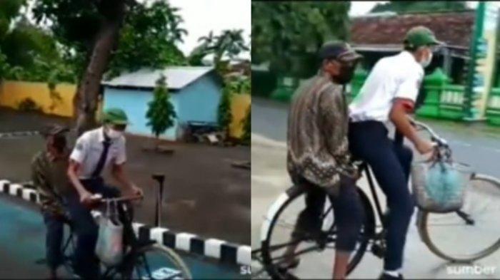 Viral Siswa Kayuh Sepeda Bersama Ayah ke Sekolah karena Tak Punya Akses Internet, Begini Faktanya