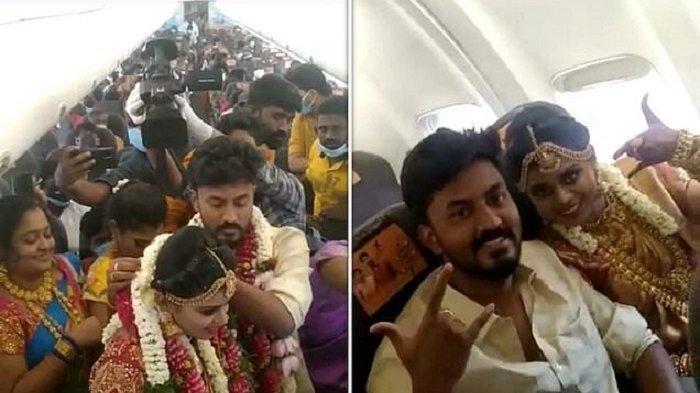 Akali Aturan Lockdown, Pria di India Menikah di Pesawat, Ratusan Orang Jadi Saksi di Udara