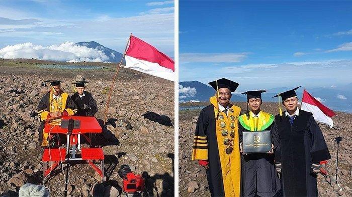 Viral wisuda daring di puncak Gunung Marapi yang menjadi bahan perbincangan di media sosial.