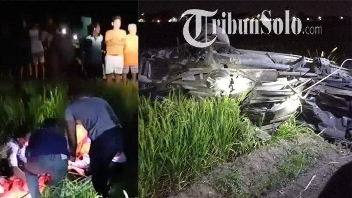Warga berbondong-bondong menyaksikan evakuasi usai KA Gajayana vs mobil di perlintasan tak berpalang pintu di Desa Jetak, Kecamatan Sidoharjo, Kabupaten Sragen, Senin (11/10/2021) malam.