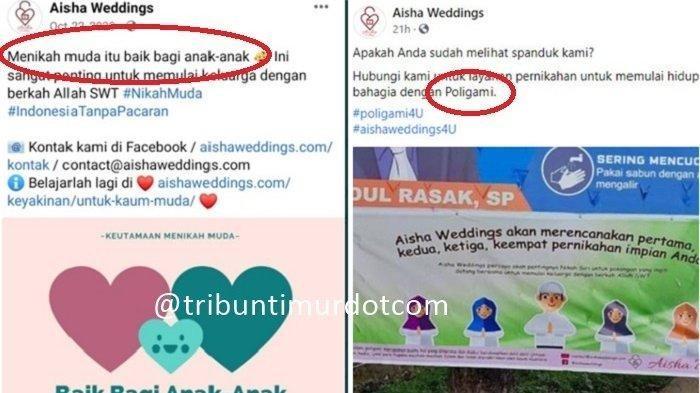 Postingan di akun sosial media Aisha Weddings terkait promosi pernikahan dini.