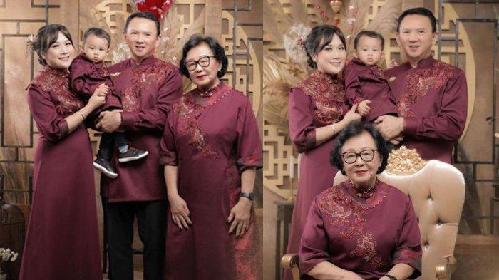 Ahok dan keluarga tampak foto bersama dalam menyambut perayaan Imlek 2021.