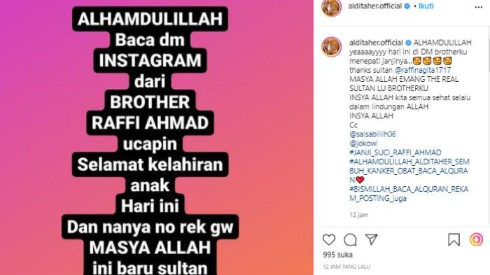 Aldi Taher sesumbar dapat DM dari Raffi Ahmad (Instagram/alditaher.official)
