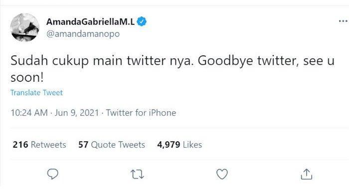 Amanda Manopo pamit dari Twitter.