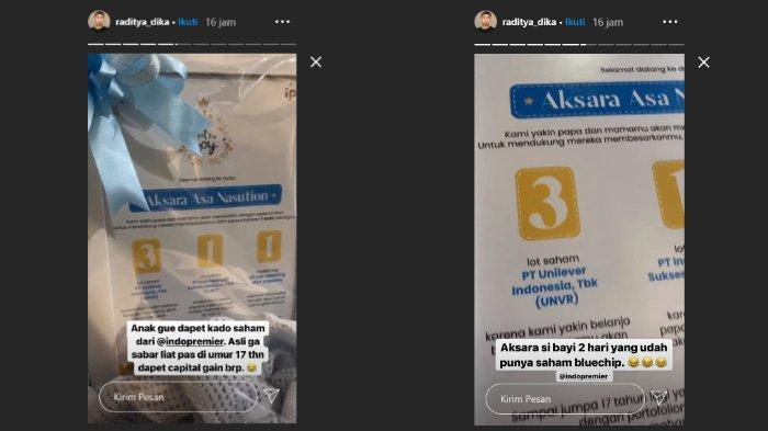 Anak Raditya Dika dan Anissa Aziza, Aksara Asa Nasution dapat kado saham