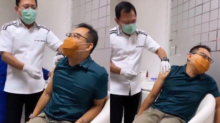 Anang Hermansyah saat disuntik vaksin Nusantara oleh dr Terawan.