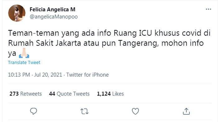 Angelica Manopo meminta bantuan kepada warga Twitter tentang keberadaan ruang Intensive Care Unit (ICU).