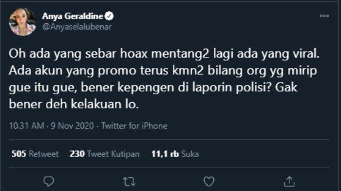 Anya Geraldine ancam polisikan akun penyebar hoax