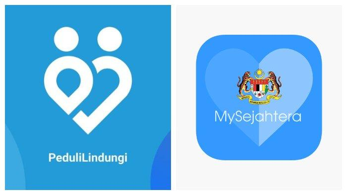 Aplikasi PeduliLindungi Indonesia dan My Sejahtera Malaysia.