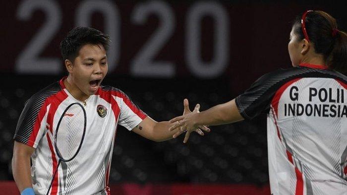 Apriyani Rahayu dan Greysia Polii raih emas pertama untuk Indonesia di Olimpiade Tokyo 2020.
