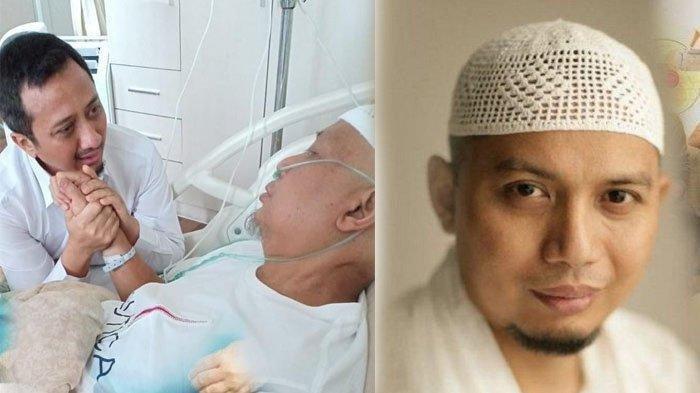 Ustaz Yusuf Mansur tak kuat membendung air matanya saat menjenguk Ustaz Arifin Ilham.