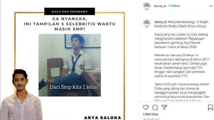 Arya Saloka ketika masih sekolah (Instagram @dunia_tv)