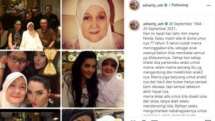 Ashanty kenang 5 tahun kepergian ibunda tercintanya
