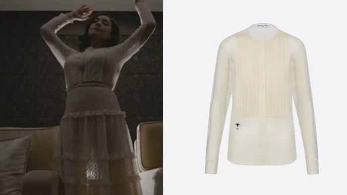 Nagita Slavina memakai Transparant Blouse.