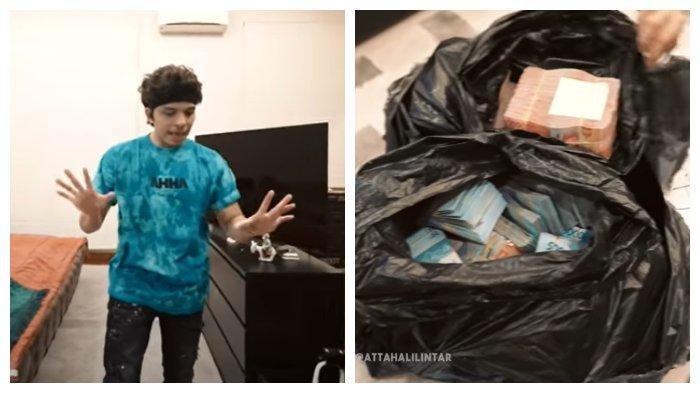 Atta Halilintar syok mendapat uang dua karung yang dibungkus plastik sampah, Sabtu (27/3/2021).