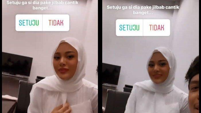 Atta Halilintar terpukau saat Aurel Hermansyah mengenakan hijab saat foto prewedding.