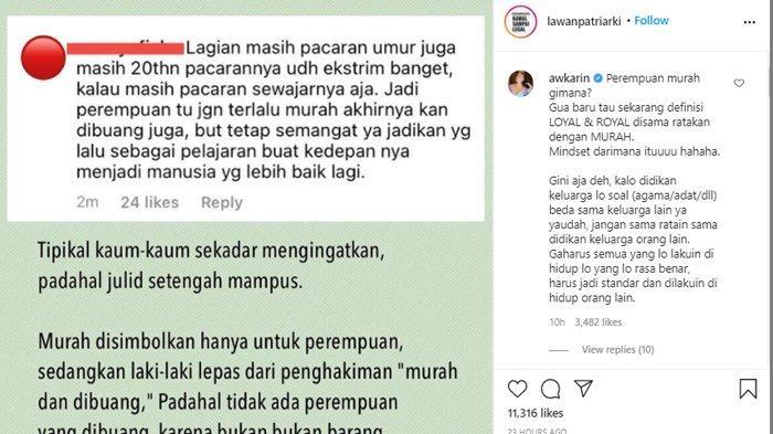 Awkarin turut berkomentar terkait tudingan 'wanita murahan'