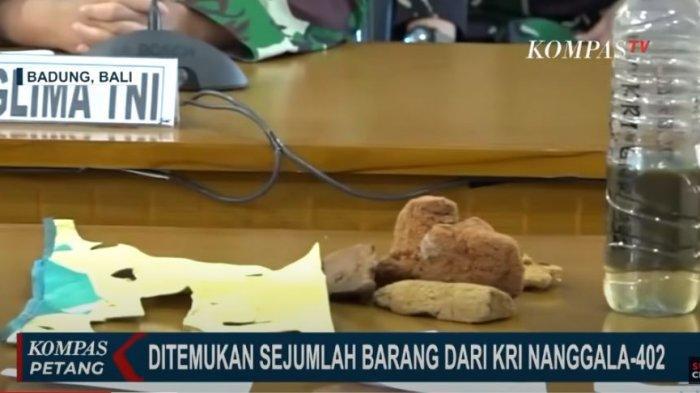 barang temuan milik KRI Nanggala 402 yang berhasil ditemukan tim evakuasi