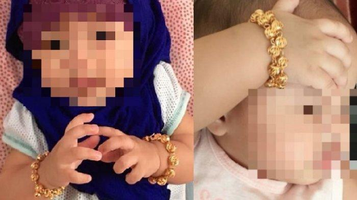 Bayi dipakaikan gelang emas