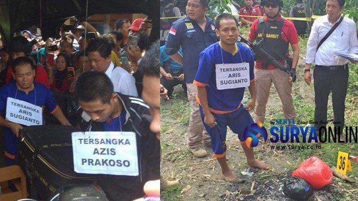 Dua tersangka pembunuhan dan mutilasi, Aris Sugianto (34) dan Ajis Prakoso (23) menjalani rekonstruksi, Rabu (24/4/2019).