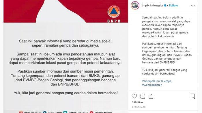 Beredar Ramalan Terkait Gempa di Media Sosial, BNPB Ingatkan Jadi Generasi Cerdas dalam Bermedsos