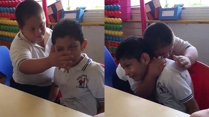 Video Viral Bocah Penderita Down Syndrome Tenangkan Tangisan Sahabat yang Juga Menderita Autisme