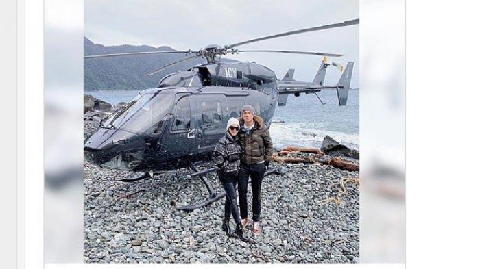 Deretan Foto & Video Bulan Madu Romantis Syahrini & Reino di Selandia Baru, Sewa Helikopter di Salju