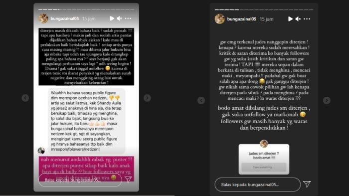 Bunga Zainal kesal dibandingkan dengan Shandy Aulia saat hadapi komentar negatif dari haters.