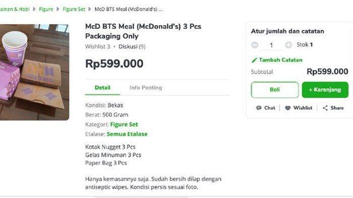 Bungkus kosong BTS Meal dijual di Tokopedia.