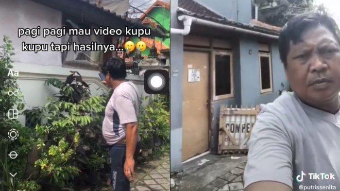 Capture TikTok @putrissenita. Viral video bapak-bapak salah kamera saat merekam kupu-kupu, langsung tertawa saat lihat hasilnya.