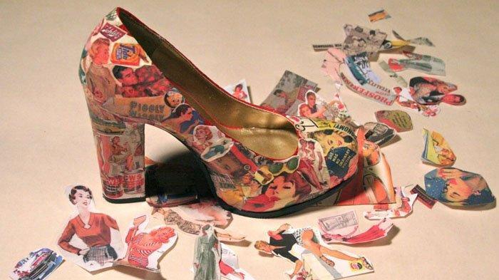 Cara Makeover Sepatu Pakai Buku dan Majalah Bekas, Lihat Hasilnya Makin Elegan dan Kece