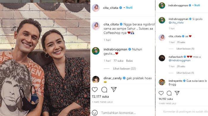 Cita Citata dan Indra Bruggman saling lempar emoji cinta