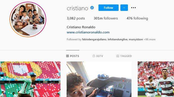 Cristiano Ronaldo capai 300 juta pengikut Instagram.