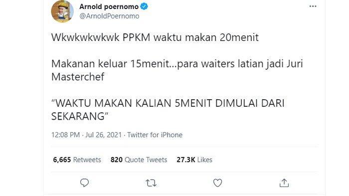 Cuitan Chef Arnold Poernomo soal peraturan makan maks 20 menit saat PPKM