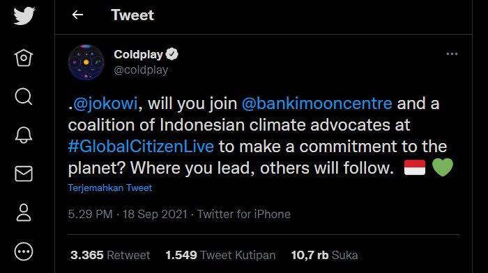 Cuitan Coldplay ajak Jokowi ikut gabung koalisi krisis iklim di Global Citizen Live.
