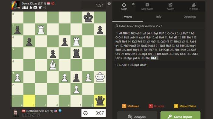 Dadang Subur alias Dewa Kipas kalahkan GothamChess catur di chess.com.