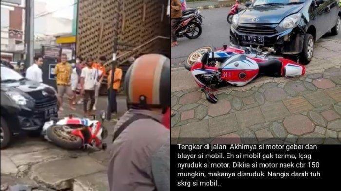 Daihatsu Ayla Tabrak Honda CBR1000RR SP di Purwokerto